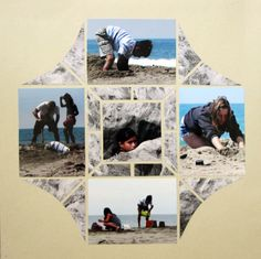 Playing in the sand.  Photo collage designed by Dawn Bozarth using Stained Glass Stencil.