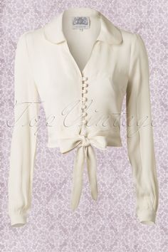 40s Clarice Blouse in Cream Crepe de Chine