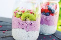 Layered chia pudding aka. fairy pudding with vanilla and berry flavor