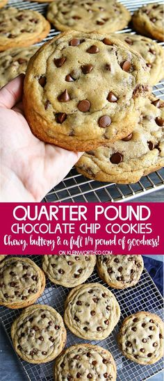 Quarter Pound Chocolate Chip Cookies are an easy to make, soft & chewy cookie recipe to WOW the crowd. Truly 1/4 pound of buttery, chocolaty goodness. (make chocolate chip cookies) Mini Desserts, Just Desserts, Delicious Desserts, Yummy Food, Cookies Receta, Yummy Cookies, Buttery Cookies, Oreo Dessert, Baking Recipes
