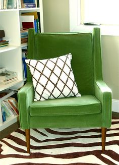 Mid-Century Modern Green Velvet Chair...I will take this for my reading chair please.