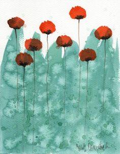 Aqua with orange poppies