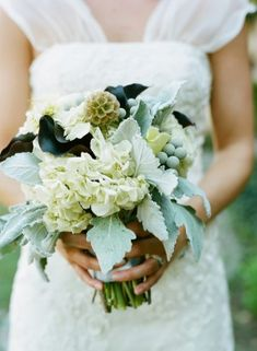 love this bouquet of white hydrangea, dusty miller, deep burgundy callas and scabiosa pods...dreamy.
