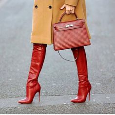 HERMES KELLY BAG with fabulous boots. Who cares what's under the coat with this look and these accessories? Thigh High Boots, High Heel Boots, Heeled Boots, Bootie Boots, Shoe Boots, High Heels, Shoes Heels, Stiletto Boots, Red Heels