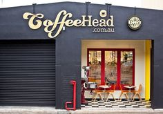 A coffee, food and retail space in a warehouse in camberwell. Cafe Shop, Cafe Bar, Cafe Restaurant, Restaurant Design, Shop Front Design, Store Design, Cafe Signage, Saloon, Web Design