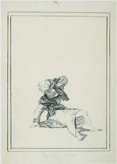 Amsterdam Rijksmuseum: Op de grond zittende jammerende oude vrouw, Francisco José de Goya y Lucientes, 1806 - 1812