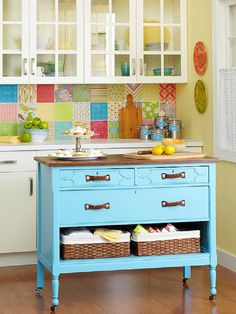 Dresser-Turned-Island DIY Kitchen Projects Done in a Day Update your kitchen in a flash with stylish and simple DIY projects. From furniture to tableware to décor, you can fill your kitchen with your own creations with these quick, easy projects. Diy Storage Furniture, Repurposed Furniture, Furniture Makeover, Furniture Stores, Dresser Makeovers, Furniture Outlet, Discount Furniture, Bathroom Furniture, Furniture Ideas