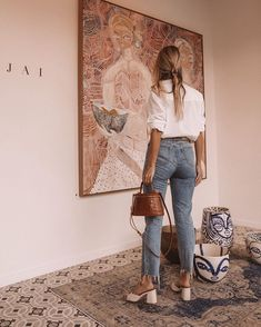 Spring Outfits With Jeans - Casual Chic ♥ - Women Fashion Easy Style, Style Cool, Looks Style, Look Cool, Jeans Outfit For Work, Outfit Jeans, Women's Jeans, Mode Outfits, Jean Outfits