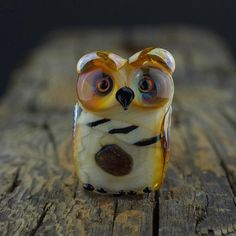 Marilyn... lampwork owl bead.. sra by DeniseAnnette on Etsy