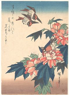 'Swallows and Kingfisher with Rose Mallows' (circa by Utagawa Hiroshige (Japanese, Woodblock print. Ariake no nurete ochitaru fuyō kana In moonlight at dawn, dew-drenched they fall— rose mallow blossoms. Japanese Artwork, Japanese Painting, Japanese Prints, Sun Prints, Canvas Prints, Mont Fuji, Bokashi, Collages, Japanese Aesthetic
