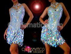 Glittery Silver Latin Dance Dress with Iridescent teardrop sequin ...