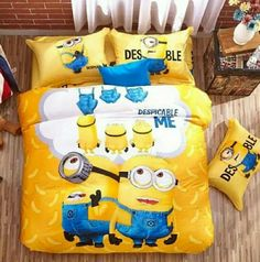 Order cotton Minions bedding sets bed set linen cotton twin queen king size/bedclothes duvet cover bedlinen bedclothes kids love by wholesale price. Queen Bed Quilts, Queen Beds, King Bedding Sets, Luxury Bedding Sets, Quilt Bedding, Linen Bedding, Bed Linens, Minion Wallpaper Iphone, Minion Gifts