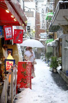 Snow in Asakusa, Japan