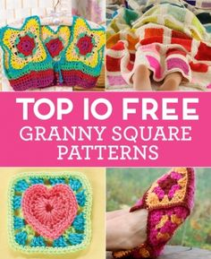 Top 10 FREE Granny Square Patterns and other patterns here http://www.topcrochetpatterns.com/