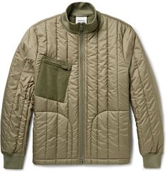 Designed exclusively for MR PORTER. Aspesi's army-green jacket will be a functional addition to your cool-weather wardrobe. Crafted from quilted shell and lightly padded for insulation, this piece is designed with comfortable ribbed trims and finished with a felt zipped pocket for appealing textural contrast. Wear it with your favourite jeans or cargo trousers, using the adjustable drawstring waist to customise the fit. Shown here with an Officine Generale sweatshirt, Aspesi shirt, J.Crew…