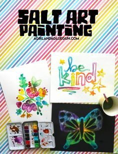 Salt Painting for kids - A girl and a glue gun - Cuisine Fun Crafts For Kids, Craft Activities For Kids, Crafts To Sell, Art For Kids, Kid Crafts, Kids Fun, Toddler Crafts, Learning Activities, Salt Painting