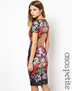 ASOS PETITE Exclusive Midi Dress In Graphic Print With Cut Out Back