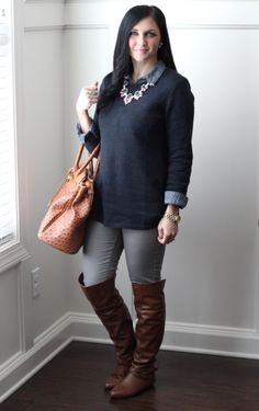 @stilettodiapers is ready to transition into spring with her J.Jill taylor pullover layered over a collared shirt.