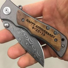 Happy anniversary engraved pocket knife, anniversary gifts for men, boyfriend, fiancé. This awesome wedding keepsake will make any husband happy! Diy Gifts For Men, Personalized Gifts For Men, Diy Gifts For Boyfriend, Gifts For Dad, Custom Gifts, Husband Gifts, Perfect Boyfriend, Man Gifts, Future Boyfriend