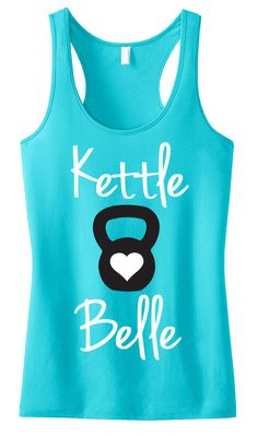 """Kettle Belle"" Teal Sheer Mini Rib Racerback Pictured Look stylish while you train! Available in Sizes XS, S, M, L, XL, 2XL, 3XL, 4XL Please see photo above for size measurements 60% Cotton 40% Poly V"