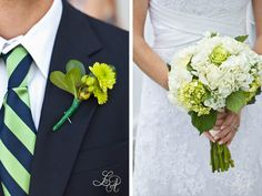 like the tie with striped ribbon on bouquet and flower girl dresses