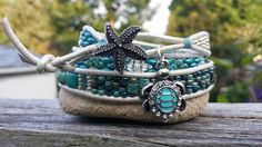 beach themed triple wrap bracelet by Pinky Lane Designs www.facebook.com/PinkyLaneDesigns