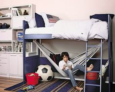 kids loft beds I would have a little book shelf where the soccer ball and red tub is and use as a reading nook