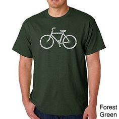 Men's Graphic Novelty T-shirt Tees American Apparel Soft Fine Cotton - Save a Planet, Ride a Bike - Forest Green - Small