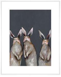 Three Standing Rabbits On Gray, Animals Art Prints   GreenBox