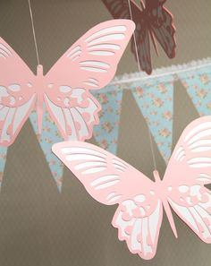 Large Butterflies - Hanging Decoration from the Shabby Chic Collection. $30.00, via Etsy.