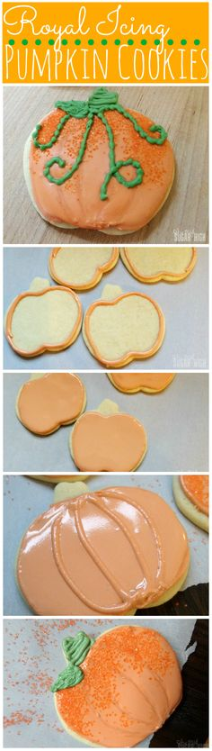 Royal Icing Pumpkin Cookies with Vines #Thanksgiving #Halloween #Fallbaking…