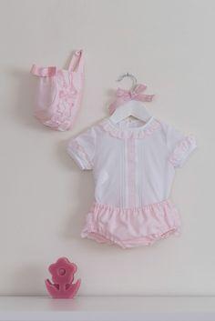 Conjunto blanco rosa para bebé de Dolce Petit f8c63e1ff615