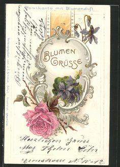 Vintage German Postcard with Rose and Violets