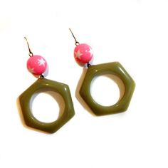 Trendy Hipster, Modern, Cool, Bold 80's style Hexagon Green Pink One of a kind Statement dangle earrings