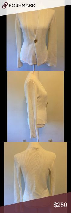 Brunello Cucinelli white ribbed cardigan sweater Like new never worn. One tan button closure. 52% linen 48% cotton. US sz medium. Brunello Cucinelli Sweaters Cardigans