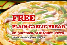 Pizza hut Today Offer : Free Plain Garlic Bread on purchase of any medium Pizza - Best Online Offer