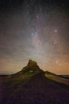 Holy Island / Milky Way by Lee Patterson Berwick Upon Tweed, Milky Way, Durham, Night Skies, Holi, Castles, Monument Valley, Watercolor Paintings