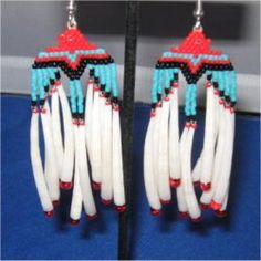"""Native American Inspired Beaded Eagle Earrings with DETALIUM SHELL """" LONG """" by Beading4u on Etsy"""