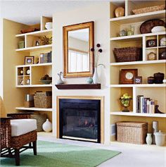Newest Totally Free Fireplace Remodel with shelves Style Floor to ceiling shelves Living Room Shelves, Living Room Storage, New Living Room, Home And Living, Living Room Decor, Modern Living, Alcove Storage, Alcove Shelving, Ceiling Shelves