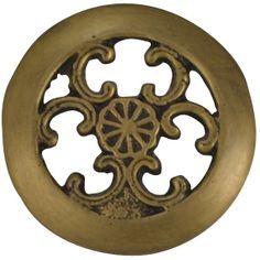 1 1/2 Inch Solid Brass Floral Swirl Knob (Antique Brass Finish)