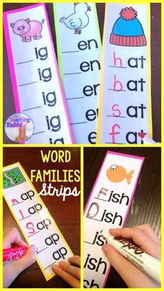 Use these short and long vowel word families strips at your first grade word work literacy center! #wordfamilies