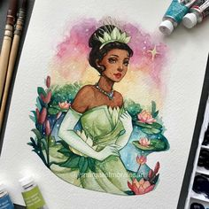 🐸 Yes, I didn't forget her dimples 😍💚 . Disney Princess Drawings, Disney Princess Art, Disney Fan Art, Disney Drawings, Disney Kunst, Arte Disney, Cartoon Kunst, Cartoon Art, Art Drawings Sketches Simple
