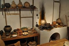 Reconstruction of a Roman kitchen at the Museum of London