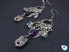 Owl earrings, Owl Jewelry, Dreamcatcher earrings, Pagan earrings, Boho Jewelry…