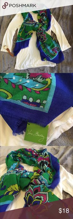Vera Bradley Scarf Brand New with tags Vera Bradley soft wool scarf! This print, emerald paisley, is now retired!  Vera Bradley Accessories Scarves & Wraps