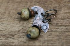 Rustic 'The Ceramists' earrings II -Metal,Erthy,Ceramic,Short,Artisan Jewelry,Modern,Futurist,Assemblage,Ecletic,Unusual,Green Earthy,Colors