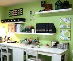 Love the color scheme as well as these floating shelves!