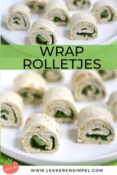 Wrapper rolls with pesto and chicken fillet - Delicious and Simple - Wrapper rolls with chicken fillet and pesto, ideal as a snack. Wraps recipes, we love them. Crunchwrap Supreme, Avocado Wrap, Lunch Wraps, Tortilla Wraps, Arugula, Bacon Wrapped, Sushi, Nom Nom, Paleo
