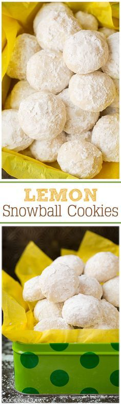 Lemon Snowball Cookies - These cookies are so irresistible! Lemon Snowball Cookies - These cookies are so irresistible! Lemon Desserts, Lemon Recipes, Cookie Desserts, Baking Recipes, Sweet Recipes, Cookie Recipes, Delicious Desserts, Yummy Food, Lemon Desert Recipes