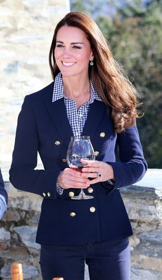 The royal couple explored a vineyard and sampled some pinot noir.Wearing: Zara blazer